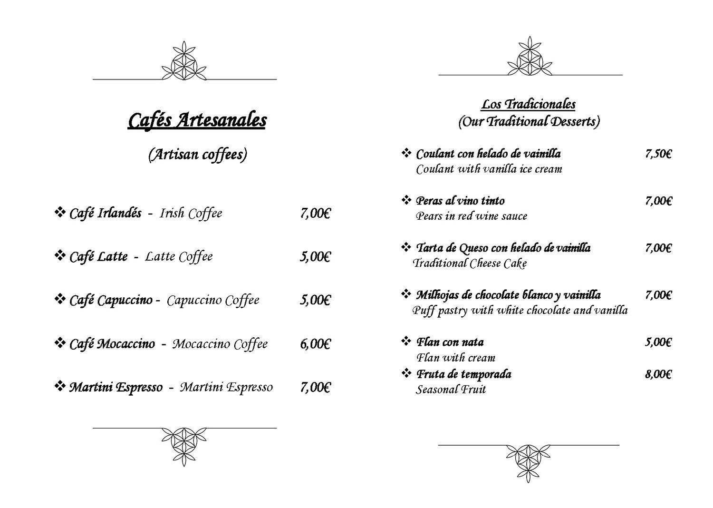 El Gamonal Menú Cafés y Postres