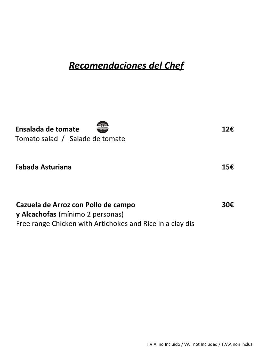 El Gamonal Menú Recomendaciones del Chef